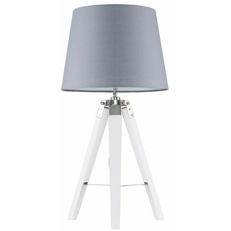 MiniSun - Cipper Table Lamp In White Wood And Chrome - Grey