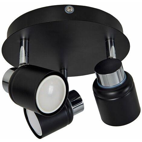MiniSun - IP44 3 Way Round Plate Spotlight In Chrome And Black - No Bulbs