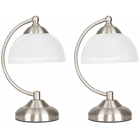 MiniSun - 2 x Stamford Crescent Table Lamps In Brushed Chrome With Glass Shade - No Bulb