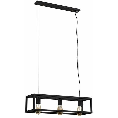 3 Way Black Caged Ceiling Light Fitting - No Bulb