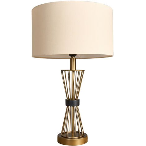 MiniSun - Gold Metal Hourglass Table Lamp With Fabric Lampshade - Beige