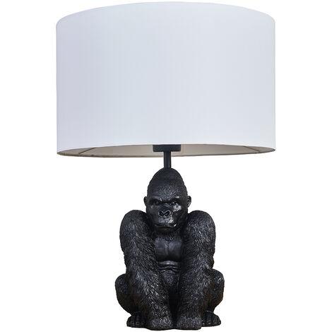 MiniSun - Gorilla Black Table Lamp With Drum Shade - White