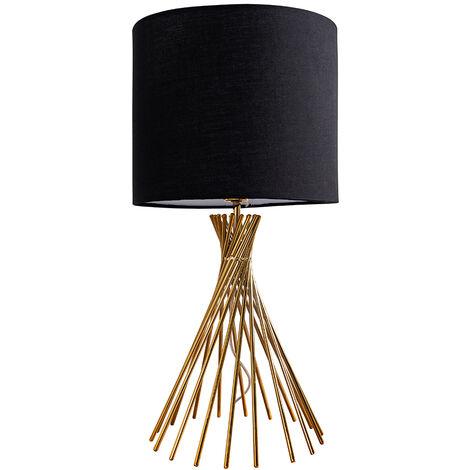 MiniSun - Metal Twist Design Table Lamp With Fabric Lampshade - Black
