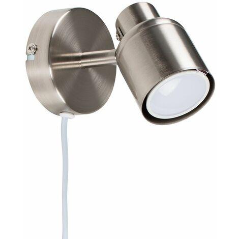 MiniSun - Adjustable Ceiling Wall Spotlight + Plug, Cable & Switch - Chrome