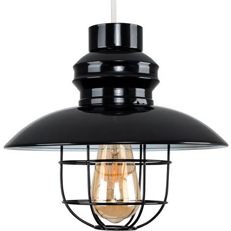 Fisherman's Metal Ceiling Pendant Light Shade - Black - Black