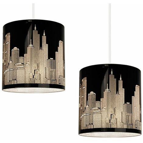 Pair Of New York Skyline Ceiling Pendant Shades - Black