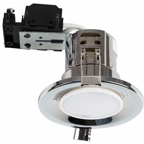 GU10 Downlights Fire Rated Recessed Ceiling Spotlight - Chrome - Silver