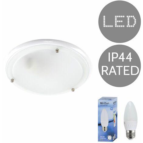 IP44 Flush Bathroom Ceiling Light + 4W Cool White LED Candle Bulb - White Gloss - White