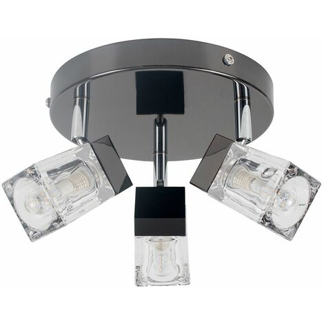 Minisun 3 Way Ice Cube Glass Ceiling Light Spotlight Ip44 Bathroom Light - No Bulbs - Black