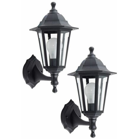 2 x Traditional Style Black Outdoor Security IP44 Rated Wall Light Lanterns - LED Bulbs - Black