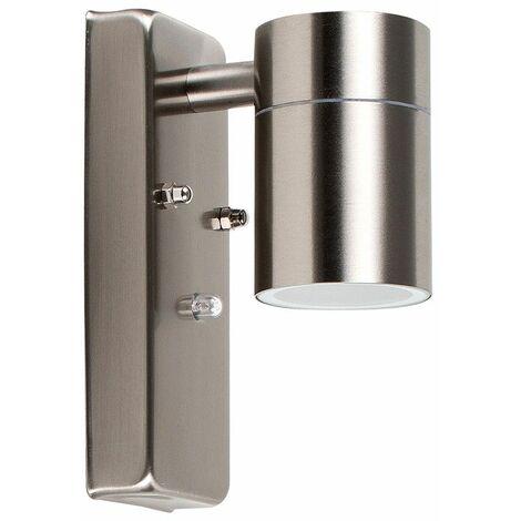 MiniSun - Stainless Steel Dusk To Dawn Sensor Outdoor Garden Wall Down Light IP44 Rated - 5W LED GU10 Bulb - Warm White