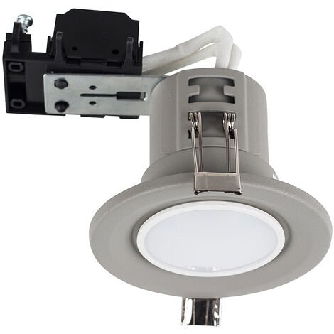 4 x Fire Rated Recessed GU10 Ceiling Downlight Spotlights + Cool White GU10 LED Bulbs - Cement