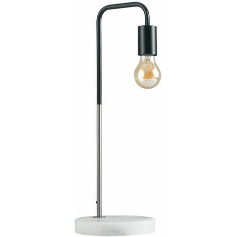 Industrial Style Table Lamp with Marble Base + 4W LED Filament GLS Bulb - Brushed Chrome