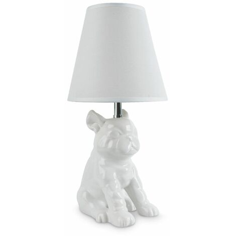 Ceramic French Bull Dog Table Lamp With Shade - White