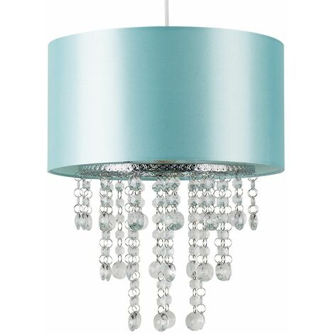 Ceiling Pendant Light Shade Clear Acrylic Jewel Droplets - Duck Egg Blue