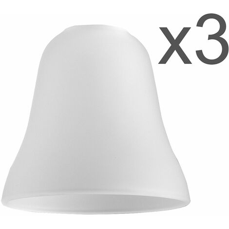 Set of 3 Glass Replacement Shades - Frosted Bell - White