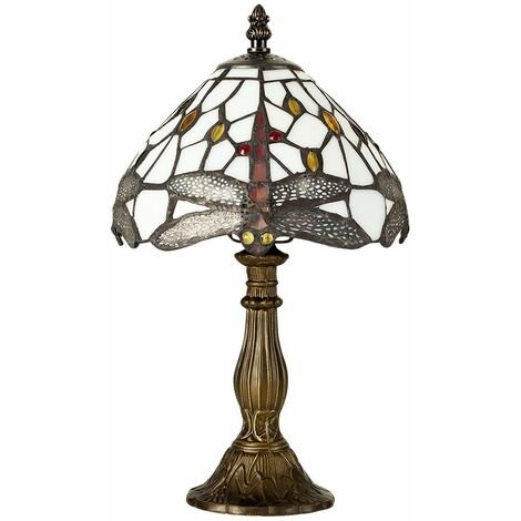 MiniSun - Tiffany Antique Brassed Base, Green & White Stained Glass & JewelDragonfly Table Lamp