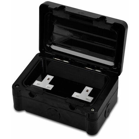 Double Black Durable Plastic Weatherproof Outdoor Garage 2 Gang Seal Secure Cover Plug Socket Ip66 - Black