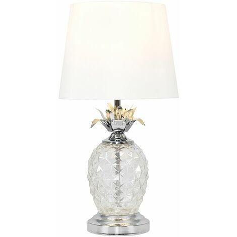 MiniSun - Glass Pineapple Touch Table Lamp - White