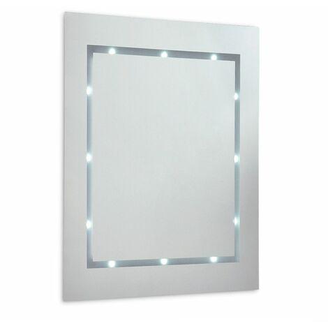 Slim LED Battery Operated Illuminating Rectangular Bathroom Mirror - Ip44 - Silver