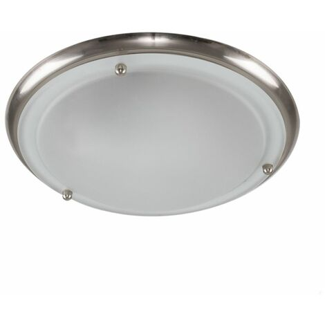 Chrome & Frosted Glass Round Plate Flush Ip44 Bathroom Ceiling Light + 3W Es E27 Cfl Spiral Bulb - Silver