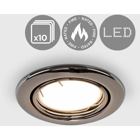 10 x Fire Rated GU10 Tiltable Recessed Ceiling Downlight Spotlights - Black