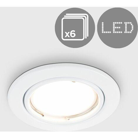 6 x GU10 Tiltable Steel Ceiling Recessed Spotlights - Gloss White