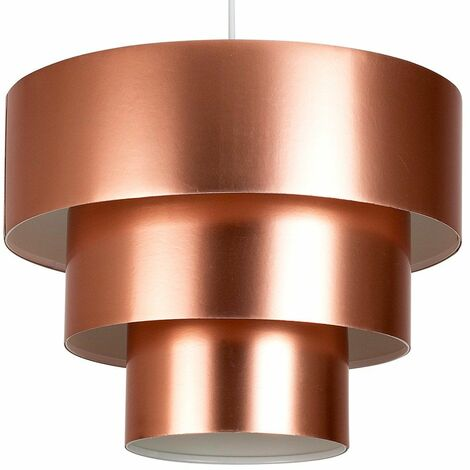 Fabric Ceiling Pendant Lampshade Easy Fit 3 Tier Light Shades - Copper