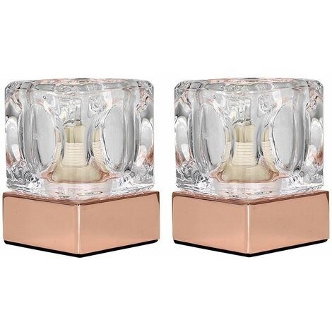MiniSun - 2 x Glass Ice Cube Touch Table Lamps - Copper