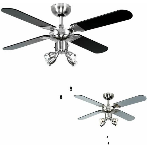 "Chrome 42"" 107Cm Ceiling Fan + Spot Lights & Black & Silver Reversible Blades - Silver"
