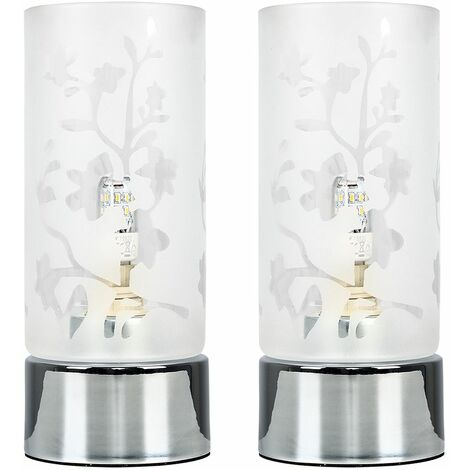 MiniSun - 2 x Chrome Touch Dimmer Table Lamps Floral Glass Light Shade Dimmable