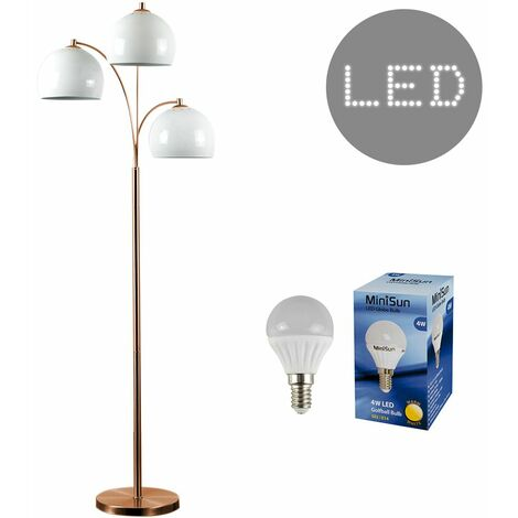 3 Way Copper Floor Lamp With Domed Shades & 4W Golfball LED Bulbs - White