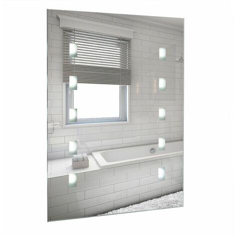 Battery Operated Illuminated LED Bathroom Mirror Wall Light IP44 - Silver