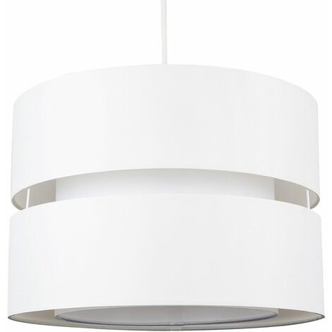 2 Tier & Ceiling Pendant Light Shade - Cream & White - Cream