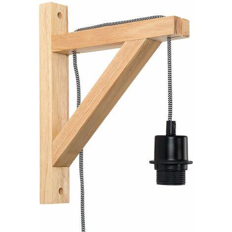 Adjustable Wall Light Plug In Wooden Finish Metal Shades