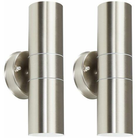 2 x Stainless Steel Up/Down IP44 Outdoor Security Wall Lights - No Bulbs - Silver