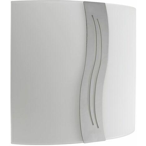 Flush Wall Light Frosted Glass & Chrome Strip Pattern Shade