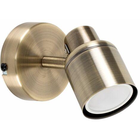MiniSun - Adjustable Wall Spotlight + 5W Warm White GU10 LED Bulb - Antique Brass