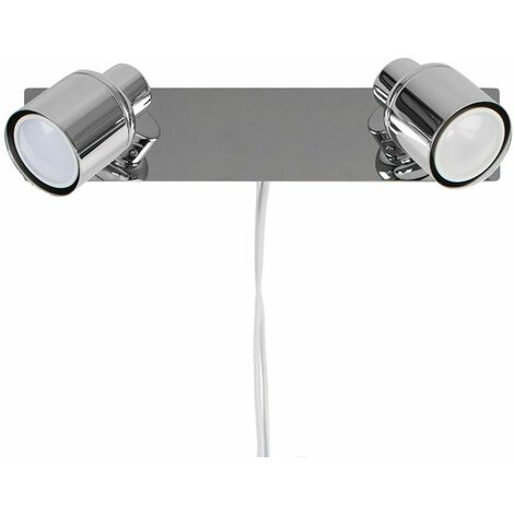 Benton 2 Way Adjustable Wall Spotlight + Plug, Cable & Switch in Chrome - No Bulbs - Silver