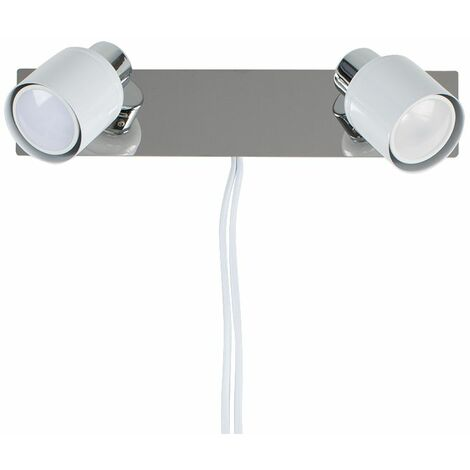 Benton 2 Way Adjustable Wall Spotlight + Plug, Cable & Switch in White - No Bulbs - White