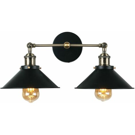 2 Way Antique Brass & Black Metal Adjustable Wall Light Fitting - No Bulbs - Gold