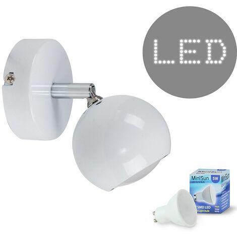 Retro Eyeball Adjustable Wall Light + 5W Warm White LED GU10 Bulb - White