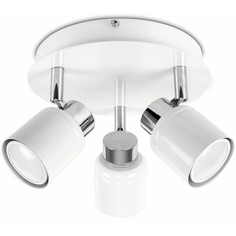Benton 3 Way Round Plate Bathroom Ceiling Spotlight - IP44 Rated - White - White
