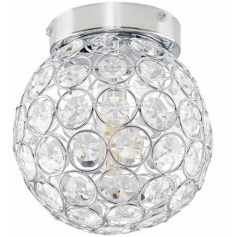 Round Chrome & Clear Acrylic Ip44 Bathroom Ceiling Light + 3W Energy Saving G9 LED Bulb - Silver