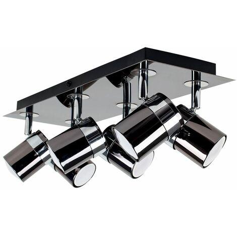 Adjustable 6 Way Rectangular Ceiling Spotlight - Black Chrome