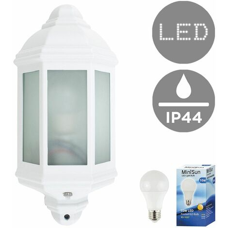 MiniSun - White & Frosted Glass Panel Outdoor Wall IP44 Light + Dawn To Dusk Sensor + 10W LED GLS Bulb - Warm White