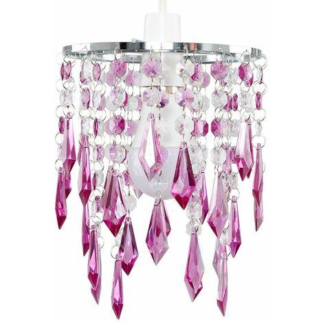 Acrylic Ceiling Pendant Light Shade Crystal Jewel Chandeliers Shades - Purple - Silver