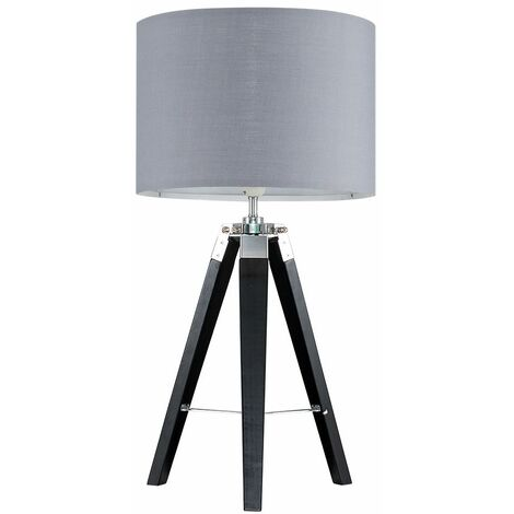 Clipper Tripod Table Lamp in Black with Rolla Shade - Grey - Black