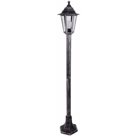 Traditional 1.2M Outdoor Garden Black Silver Lamp Post Bollard & Top Lantern Light IP44 Rated - Add LED Bulb