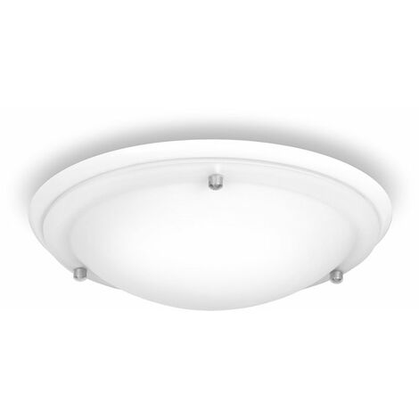 Flush Round Bathroom Ceiling Light with a Frosted Glass Shade - White - White